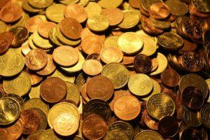 Montón de monedas de euros